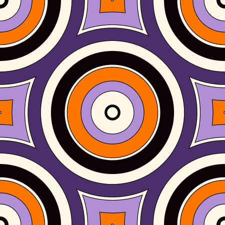 autumn motif: Seamless pattern with symmetric geometric ornament in Halloween traditional colors. Abstract background with colorful round vortexes. Vector illustration