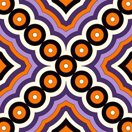Seamless pattern in Halloween traditional colors. Abstract background with bright geometric ornament. Can be used for digital paper, textile print, page fill. Vector illustration