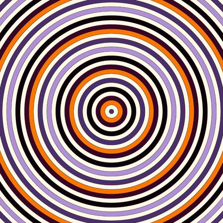 Seamless pattern in Halloween traditional colors. Abstract background with bright round vortex. Vector illustration