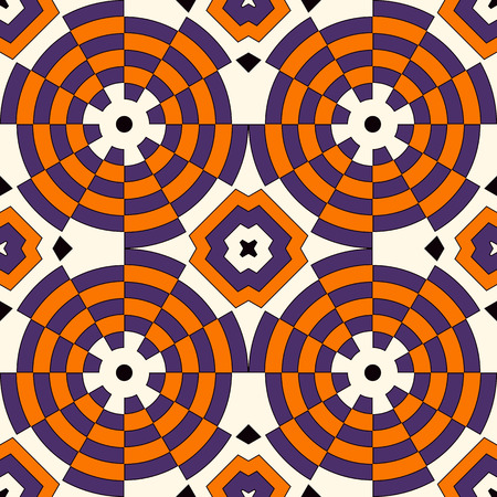 Seamless pattern in Halloween traditional colors. Colorful kaleidoscope decorative round ornament on white background. Ornamental vivid wallpaper. Vector illustration