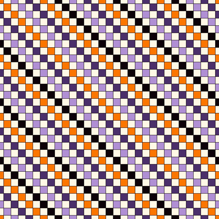 Seamless pattern in Halloween traditional colors. Abstract repeated bright diagonal lines background. Mosaic wallpaper. Vector illustration Illustration