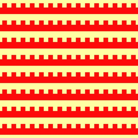 varied: Seamless horizontal striped pattern. Repeated red embattled lines on yellow background. Heraldry motif. Abstract wallpaper. Vector illustration