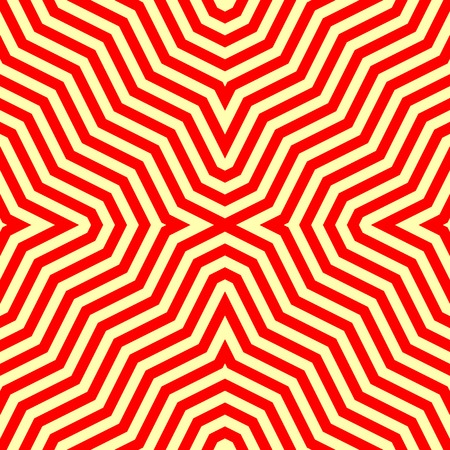 eyestrain: Seamless pattern with symmetric ornament. Red abstract on yellow background. Psychedelic wallpaper. Lines motif. Vector illustration Illustration