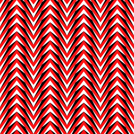 Seamless pattern with symmetric geometric ornament. Bright red zigzag abstract on color background. Repeated chevrons wallpaper. Ethnic vector illustration