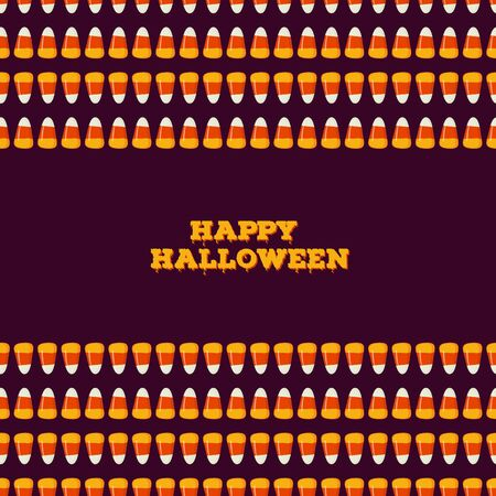 Happy Halloween inscription with horizontal seamless border made of small candy corns on dark background. Holiday trick or treat concept greeting card, poster. Vector illustration.