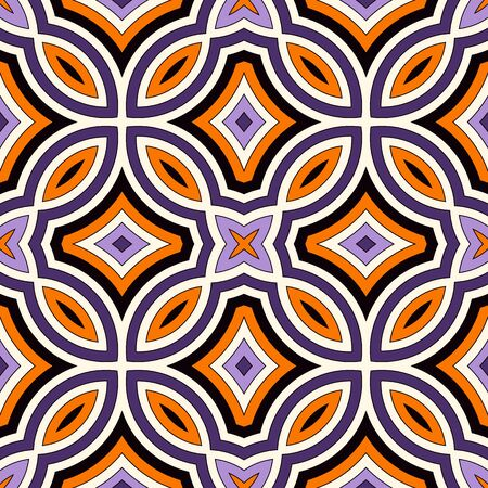 Seamless pattern in Halloween traditional colors. Bright ethnic abstract background. Ornamental vivid wallpaper. Vector illustration