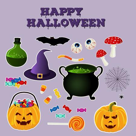 elixir: colección Happy Halloween de vacaciones objetos relacionados. Conjunto de iconos de colores brillantes. Calabaza, caldero con la poción y los ingredientes, sombrero y otros atributos de las brujas tradicionales. ilustración vectorial