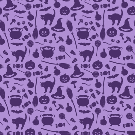elixir: Seamless pattern with related halloween holiday object silhouettes on purple background. Traditional witches attributes. Scrapbook digital paper, textile print, page fill. Vector illustration