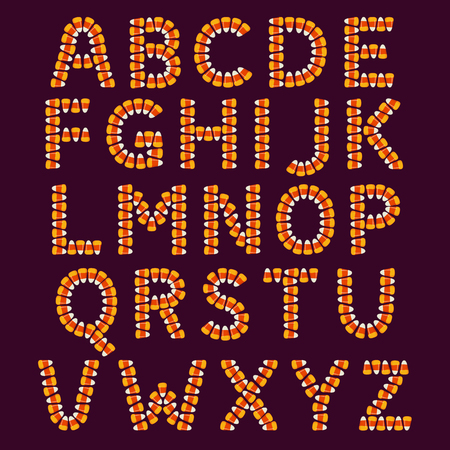 Halloween alphabet made of small candy corns on dark background. Holiday trick or treat concept font. Vector illustration. Illustration
