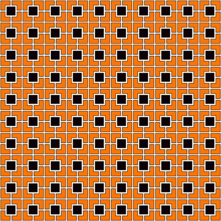 fill in: Seamless pattern in Halloween traditional colors. Square chain abstract background. Can be used for digital paper, textile print, page fill. Color Vector illustration