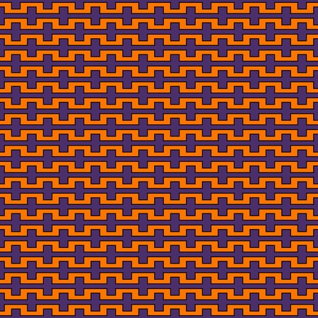 fill in: Seamless pattern in Halloween traditional colors. Battlement curved lines abstract background. Scrapbook digital paper, textile print, page fill. Vector illustration Illustration