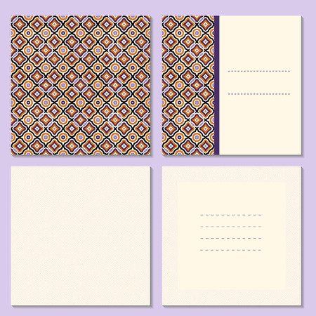 Set of four page greeting cards, invitation, flyers, brochures layout with outside and inside spread. Square format templates with bright and simple outline geometric pattern. Vector illustration. Illustration