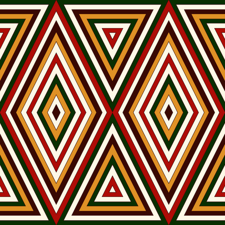 motivos navideños: Seamless pattern in Christmas traditional colors. Bright ornamental abstract background. Ethnic and tribal motifs. Can be used for digital paper, textile print, page fill. Illustration