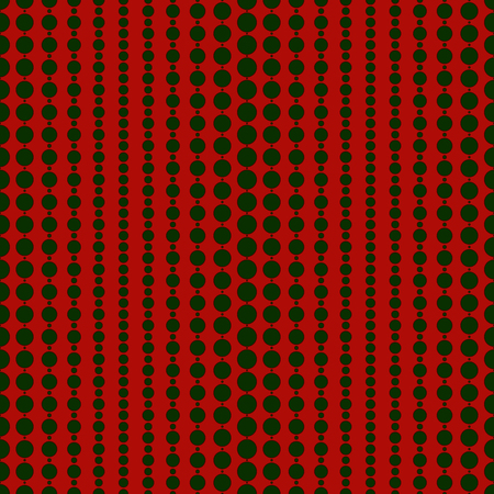christmas motif: Seamless surface pattern with geometric ornament in Christmas traditional colors. Xmas background with festive hanging garland beads. Polka dot texture. Repeated circles motif. Vector illustration.