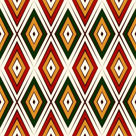 christmas motif: Seamless pattern in Christmas traditional colors. Ethnic and tribal motif. Repeated rhombuses bright ornamental abstract background. Digital paper, textile print, page fill. Vector illustration