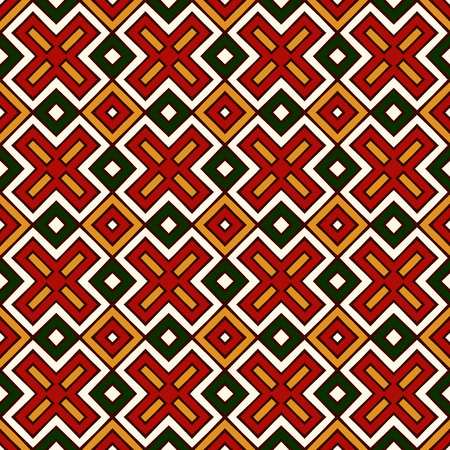 christmas motif: Seamless pattern in Christmas traditional colors. Ethnic and tribal motif. Repeated geometric forms bright ornamental abstract background. Digital paper, textile print, page fill. Vector illustration