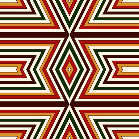 Seamless pattern in Christmas traditional colors. Bright ornamental abstract background. Ethnic and tribal motifs. Can be used for digital paper, textile print, page fill. Vector illustration Illustration