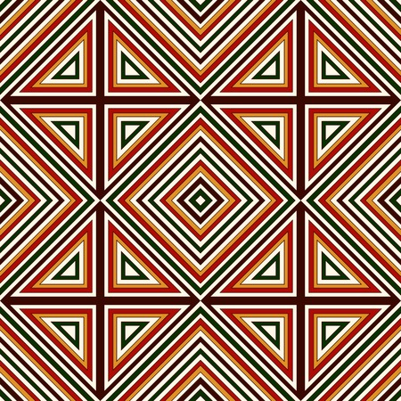 motivos navideños: Seamless pattern in Christmas traditional colors. Bright ornamental abstract background. Ethnic and tribal motifs. Can be used for digital paper, textile print, page fill. Vector illustration Vectores