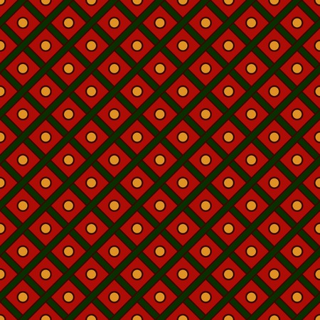 christmas motif: Seamless pattern in Christmas traditional colors. Repeated diagonal lines and circles texture. Abstract background. Grid motif. Scrapbook digital paper, textile print, page fill. Vector illustration Illustration