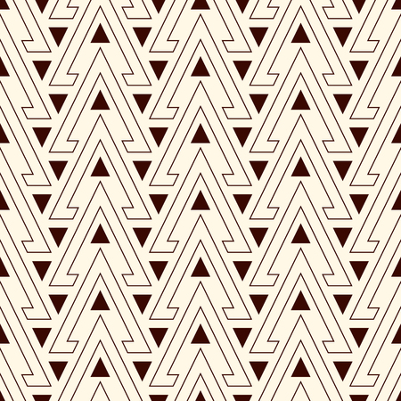 solid figure: Outline hollow and solid triangles on white background. Repeated figures wallpaper. Ethnic ornamental motif. Seamless pattern with geometric ornament in modern style. Vector art