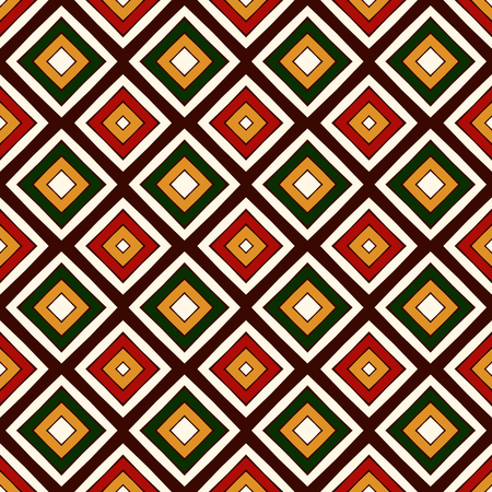 Seamless pattern in Christmas traditional colors. Repeated squares and rhombuses bright ornamental abstract background. Can be used for digital paper, textile print, page fill. Vector illustration