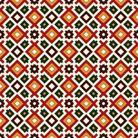 motivos navideños: Patrón sin fisuras en colores tradicionales de Navidad. Cuadrados y rombos repetidos brillante fondo abstracto ornamental. Motivos étnicos y tribales. Ilustración del vector