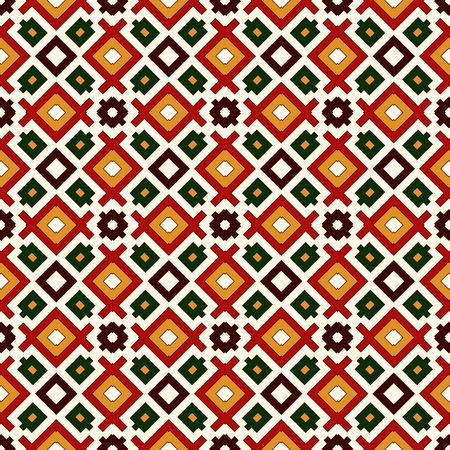 Seamless pattern in Christmas traditional colors. Repeated squares and rhombuses bright ornamental abstract background. Ethnic and tribal motifs. Vector illustration