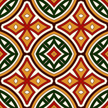 talavera: Bright seamless pattern with geometric ornament in Christmas traditional colors. Colorful abstract background. Ethnic and tribal motifs. Ornamental vivid wallpaper. Vector illustration