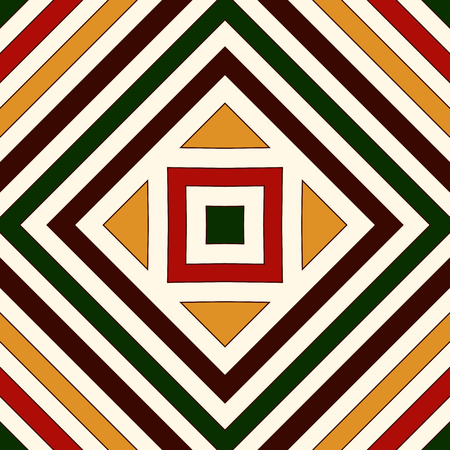 talavera: Seamless pattern in Christmas traditional colors. Repeated squares and rhombuses bright ornamental abstract background. Can be used for digital paper, textile print, page fill. Vector illustration