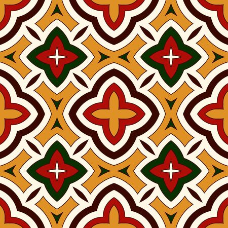 motivos navideños: Bright seamless pattern with geometric ornament in Christmas traditional colors. Colorful abstract background. Ethnic and tribal motifs. Ornamental vivid wallpaper. Vector illustration