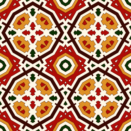 Bright seamless pattern with geometric ornament in Christmas traditional colors. Colorful abstract background. Ethnic and tribal motifs. Ornamental vivid wallpaper. Vector illustration