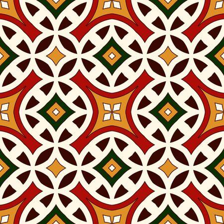 motivos navideños: Brillante patrón transparente con el ornamento geométrico en colores tradicionales de la Navidad. Fondo abstracto de colores. adornos étnicos y tribales. vivo wallpaper ornamental. ilustración vectorial Vectores