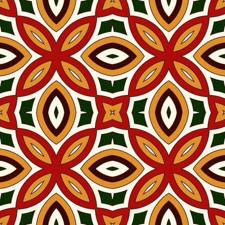 motivos navideños: Bright seamless pattern with floral ornament in Christmas traditional colors. Colorful abstract background. Ethnic and tribal motifs. Ornamental vivid wallpaper. Vector illustration