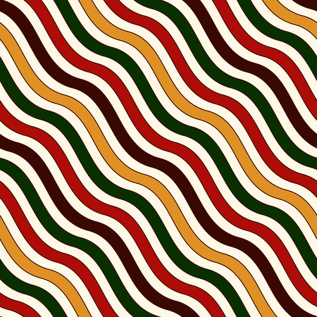 Seamless pattern in Christmas traditional colors. Wavy diagonal striped abstract background. Can be used for digital paper, textile print, page fill. Vector illustration Illustration
