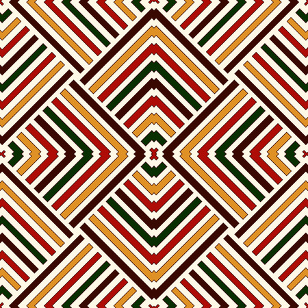 Seamless pattern in Christmas traditional colors. Bright ethnic striped abstract background. Can be used for digital paper, textile print, page fill. Vector illustration