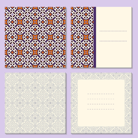 Set of four page greeting cards, invitation,  brochures layout with outside and inside spread. Square format templates with bright and simple outline geometric pattern. Vector illustration.
