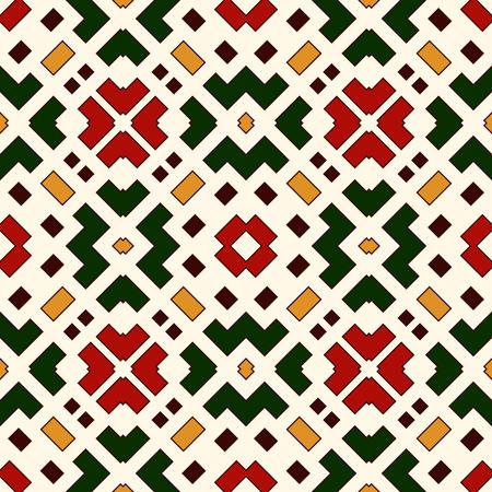 Brillant modèle sans couture avec des formes géométriques répétées. Broderie stylisée abstrait ornemental. Motifs ethniques et tribaux. Papier numérique, impression textile, remplissage de page. Art vecteur