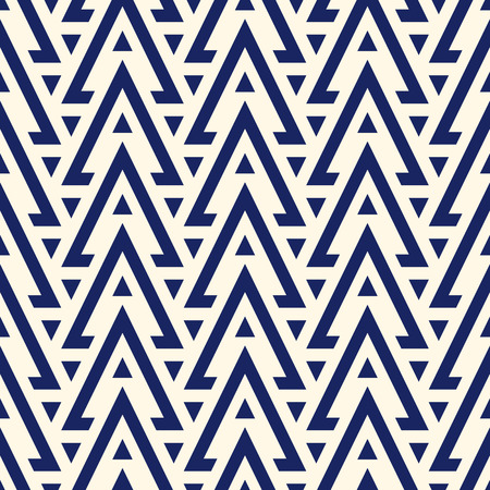 solid figure: Navy color hollow and solid triangles on white background. Repeated figures wallpaper. Ethnic ornamental motif. Seamless pattern with geometric ornament in modern style. Vector art