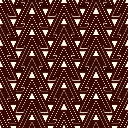 solid figure: Outline hollow and solid triangles on dark background. Repeated figures wallpaper. Ethnic ornamental motif. Seamless pattern with geometric ornament in modern style. Vector art