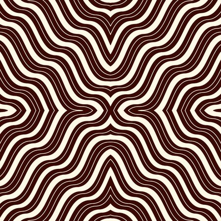 Outline op art abstract background. Psychedelic optical illusion effect wallpaper. Seamless pattern with symmetric geometric ornament. Digital paper, textile print, page fill. Vector illustration Illustration