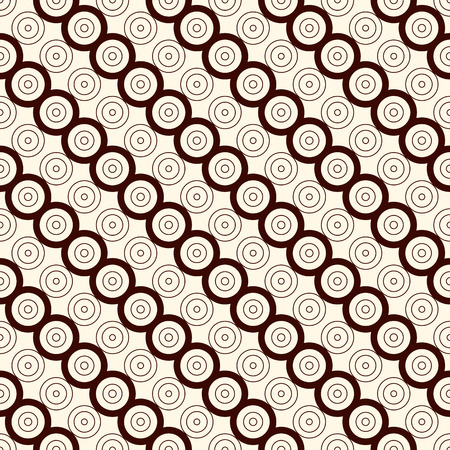 bias: Outline seamless pattern with diagonal lines and circles. Repeated geometric figures ornamental abstract background. Modern ornamental motif. Digital paper, textile print, page fill. Vector art