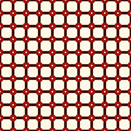 wattle: Checkered seamless pattern. Mesh motif. Red colors geometric abstract background with overlapping stripes with knot. Marine fishing net wallpaper. Digital paper, textile print. Vector illustration