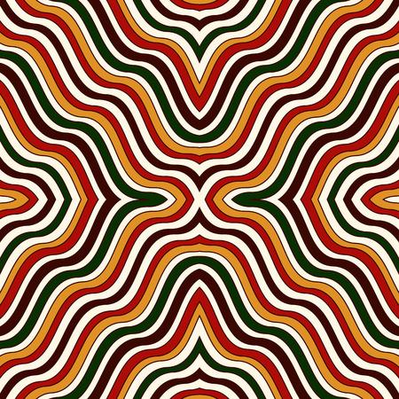 Luminoso op art sfondo astratto. Carta da parati psichedelica effetto illusione effetto. Modello senza saldatura con ornamento geometrico simmetrico. Stampa vivaci ornamentali. Illustrazione vettoriale