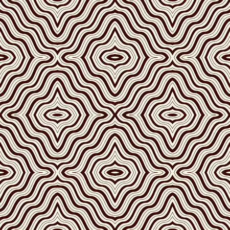 eyestrain: Outline op art abstract background. Psychedelic optical illusion effect wallpaper. Seamless pattern with symmetric geometric ornament. Digital paper, textile print, page fill. Vector illustration Illustration