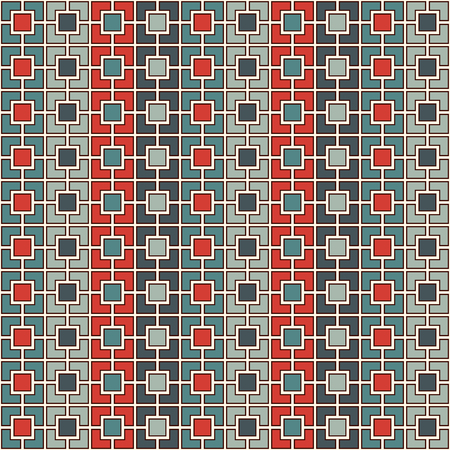 paper chain: Seamless pattern with symmetric geometric ornament. Red and blue color vertical square chain abstract background. Mosaic wallpaper. Digital paper, textile print, page fill. Vector illustration