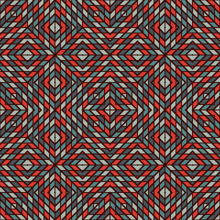 bias: Checkered abstract background. Red and blue color diagonal square cell wallpaper. Seamless pattern with mosaic geometric ornament. Modern style surface texture. Vector illustration Illustration