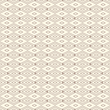 Outline seamless pattern with geometric figures. Repeated diamond ornamental abstract background. Rhombuses and lozenges motif. Illustration