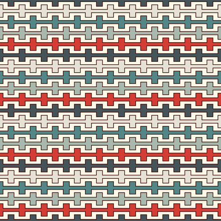 Retro colors seamless pattern with battlement curved lines. Repeated geometric figures wallpaper. Modern style surface texture. Digital paper, textile print, page fill. Vector art