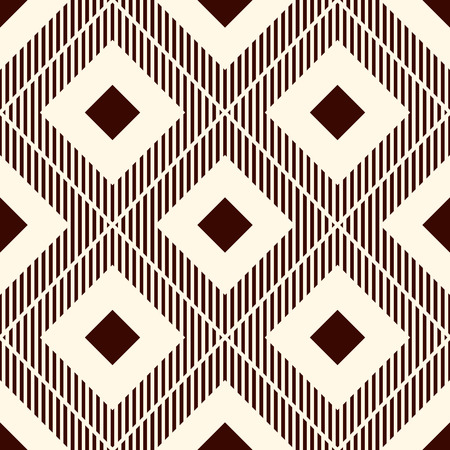 Repeated brown diamonds and hatch lines. Ikat wallpaper. Seamless surface pattern with native design. Ethnic ornamental motif. Digital paper, page fills, textile print. Vector art Illustration