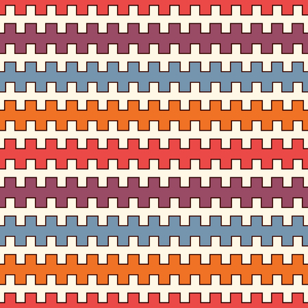 Bright colors seamless pattern with battlement curved lines. Repeated geometric figures wallpaper. Modern style surface texture. Vivid digital paper, textile print, page fill. Vector art Illustration